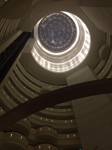 Interior view of the atrium at the Horizon Club, Shangri-La's Far Eastern Plaza Hotel, Tainan, Taiwan